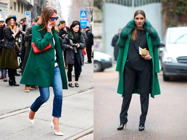 Зелёное пальто зимой фото