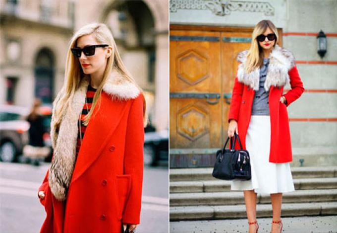 Зимнее пальто яркого красного цвета фото