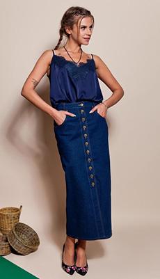 Тёмная джинсовая юбка на пуговицах фото