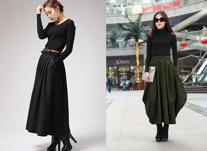 Длинная чёрная юбка под ботиночки фото