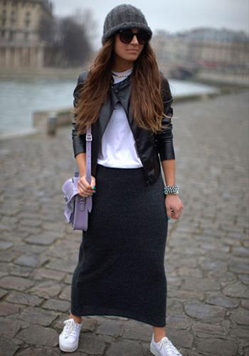 Длинная юбка осенью фото