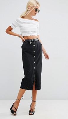 Джинсовая юбка с завышенной талией фото