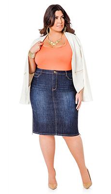 Юбка карандаш до колена из джинса фото