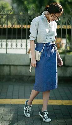 Джинсовая юбка летом фото