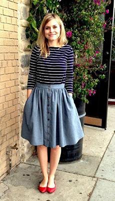 Джинсовая расклешённая юбка фото