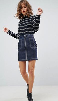 Короткая юбка с высокой талией фото