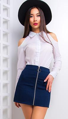 Джинсовая короткая юбка-трапеция фото