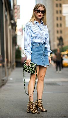 Джинсовая юбка под рубашку фото