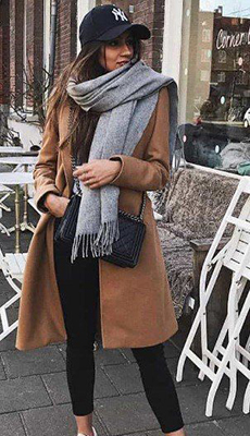 Шарф под коричневое пальто фото