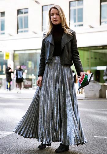 Длинная юбка-плиссе фото