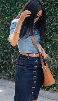 Модная джинсовая юбка фото