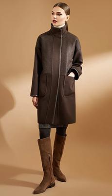 Коричневое пальто под сапоги фото