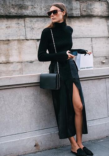 Длинная юбка с разрезом фото