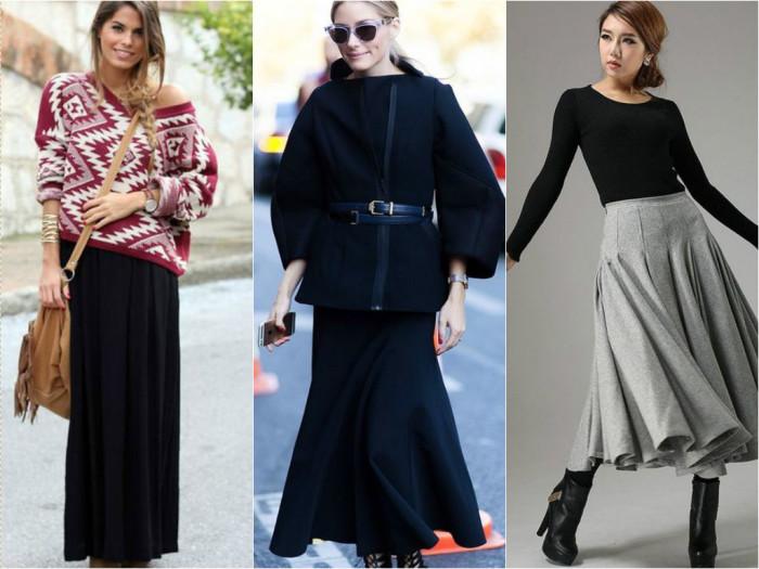 Чёрная длинная юбка фото