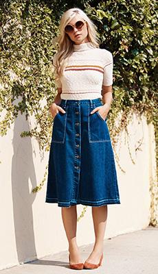 Джинсовая юбка до колен летом фото