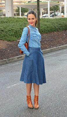 Джинсовая юбка под ботинки фото