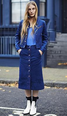 Джинсовая юбка осенью фото