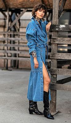 Джинсовая юбка с разрезом фото