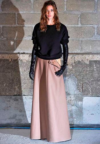 Розовая длинная юбка в пол фото