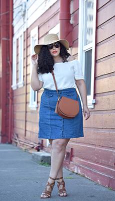 Синяя юбка из джинсовой ткани фото