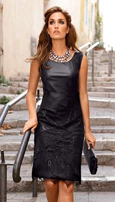 Кожаное платье без рукавов фото