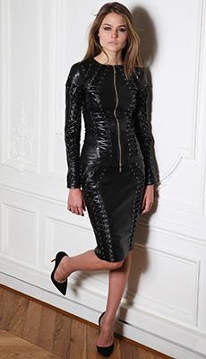 Кожаное платье на молнии фото