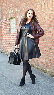 Платье и сумка из чёрной кожи фото