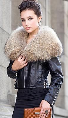 Кожанная куртка с меховым воротником фото