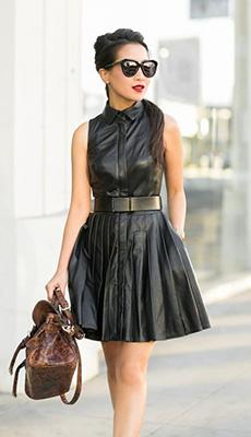 Чёрное кожаное платье фото