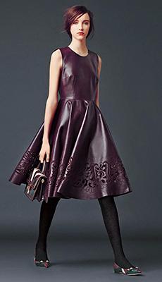 Кожаное платье с пыщной юбкой фото
