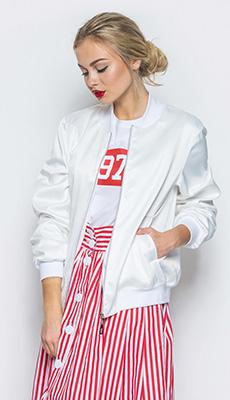 Бомбер белого цвета под юбку фото