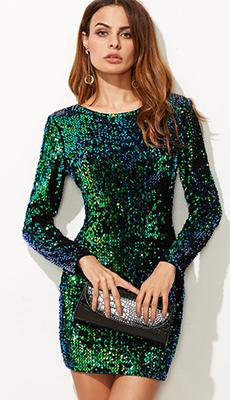 Зелёное платье с пайетками фото