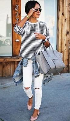 Тельняжка под белые джинсы фото
