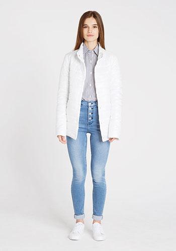 Светлые джинсы с высокой талией фото