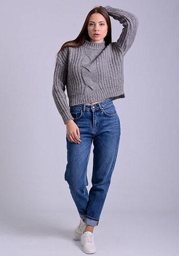 Свитер под джинсы с высокой талией фото