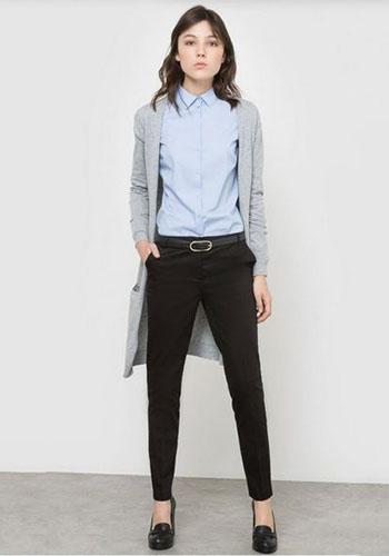 Мужская рубашка под чёрные брюки девушке фото