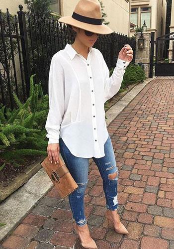 Мужская сорочка под рваные джинсы девушке фото