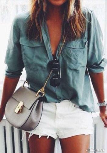 Мужская рубашка на девушке летом фото