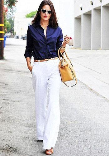 Белые брюки клёш под мужскую рубашку для женщины фото