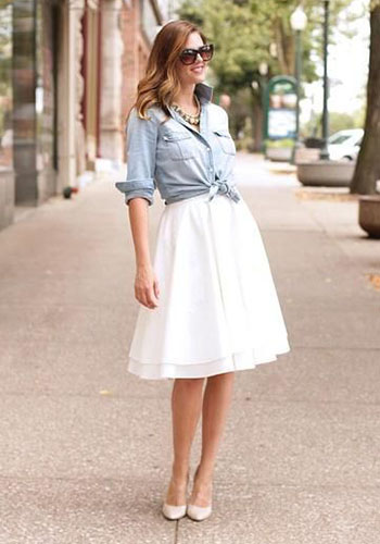 Мужская рубашка под белоснежную юбку женщинам фото