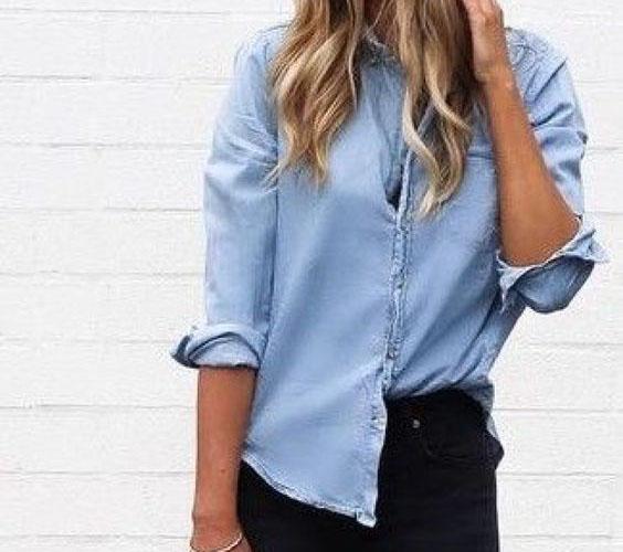 джинсовая рубашка с чем носить фото женские