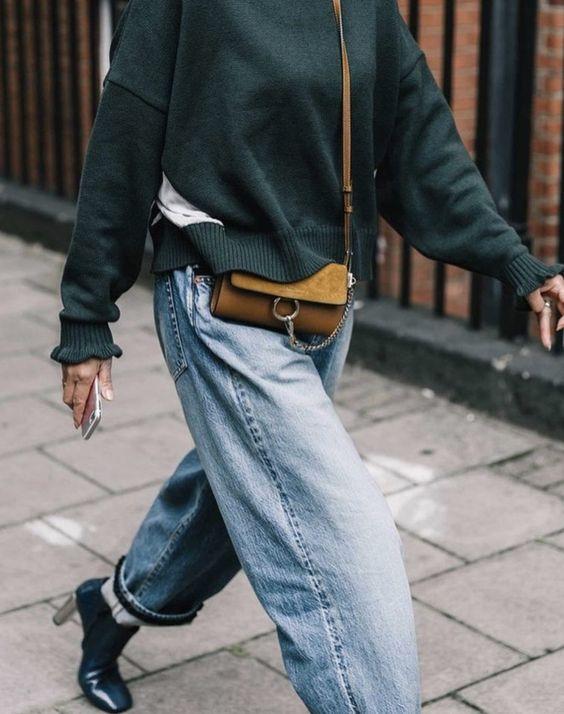 джинсы слоучи зимой