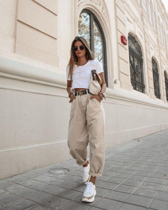 бежевые брюки слоучи