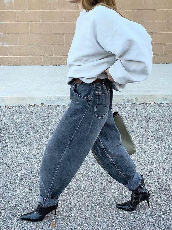 слоуч джинсы с чем носить зимой