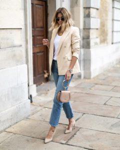 джинсы укороченные с пиджаком