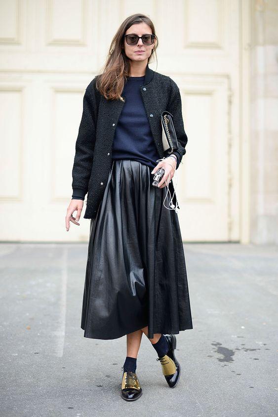 длинная кожаная юбка зимой