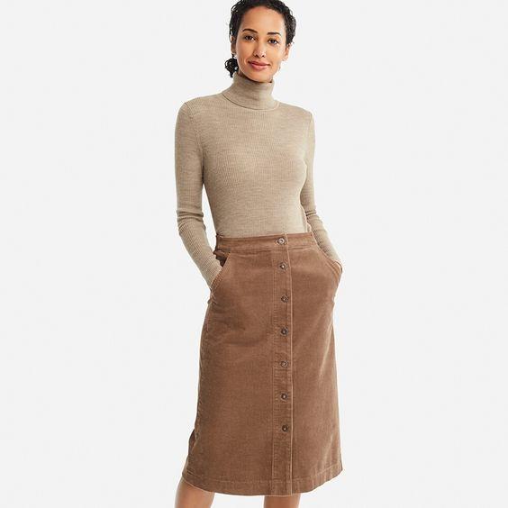 вельветовая юбка зимой