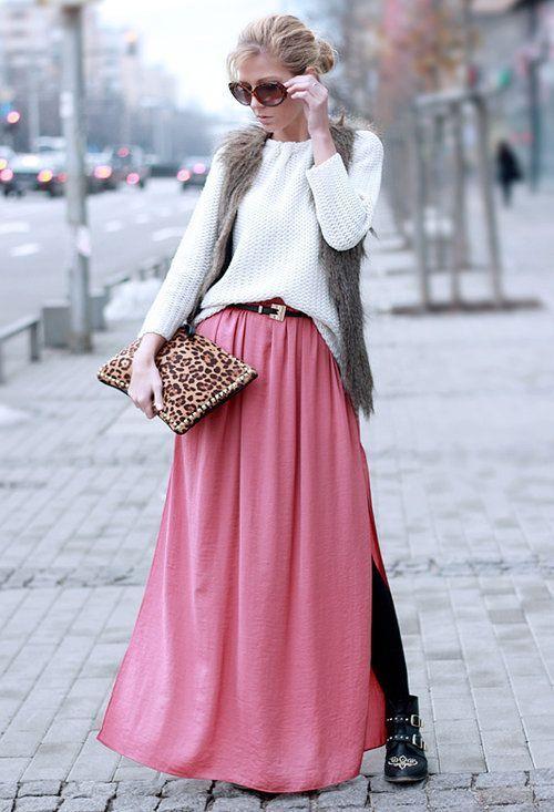 розовая длинная юбка