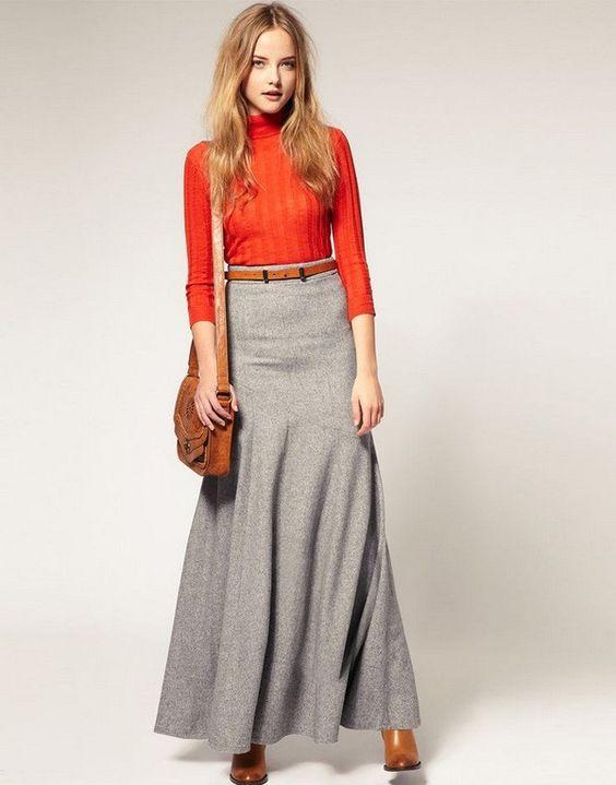 длинная серая юбка зимой с чем носить