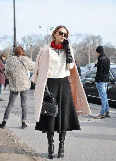 юбка миди с чем носить зимой